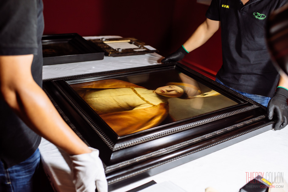 The portait of Prince Ruppert of the Palatinate by Jan Lievens is unpacking at the Long Museum in Shanghai for The Lieden Collection coming exhibition Photographer Thierry Coulon